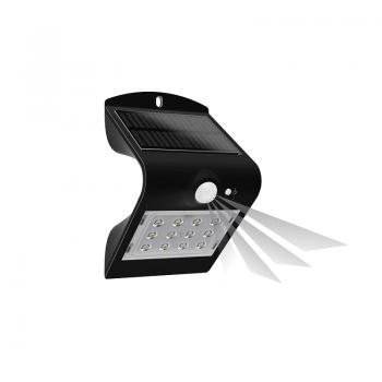 Lampe de jardin solaire avec détecteur de mouvement couleur noir - Orno